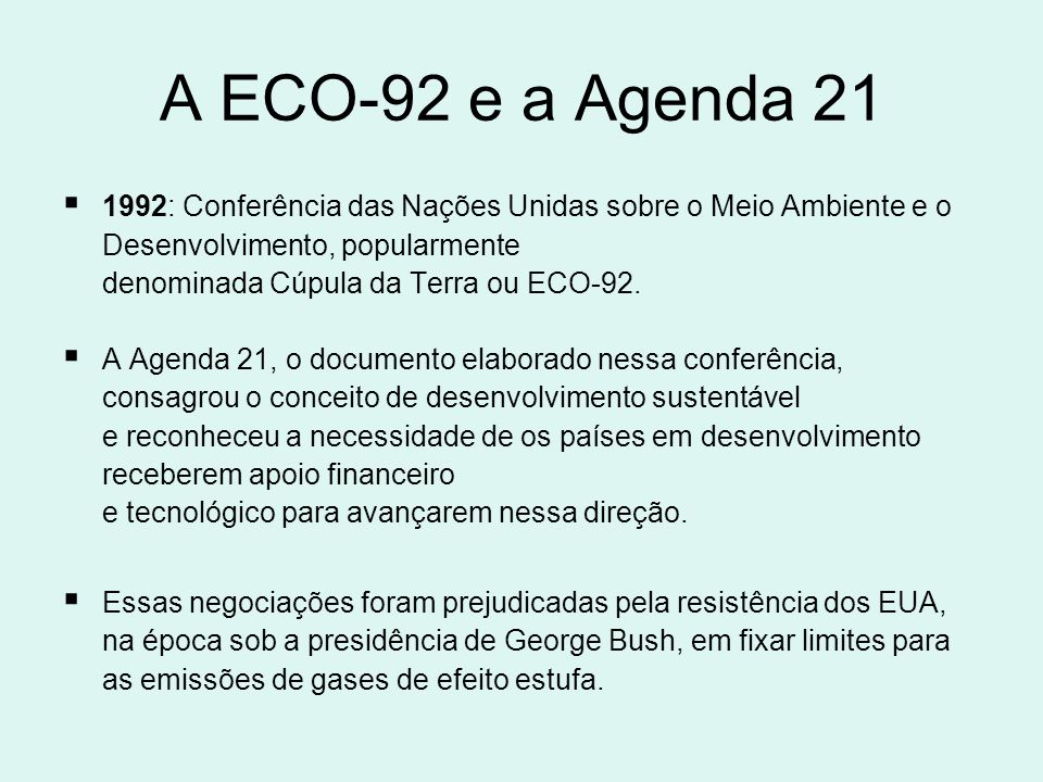 A ECO-92 e a Agenda 21