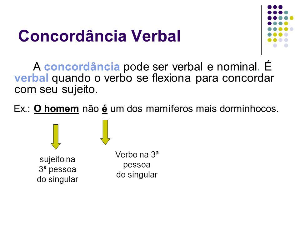 Concordância VerbalA concordância pode ser verbal e nominal. É verbal quando o verbo se flexiona para concordar com seu sujeito.