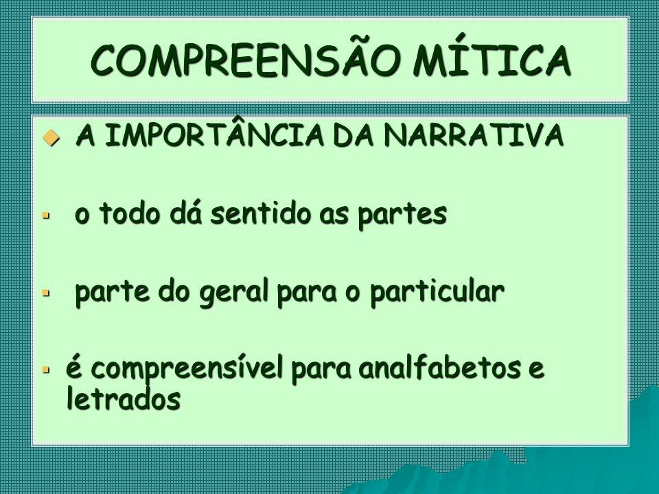 COMPREENSÃO MÍTICA A IMPORTÂNCIA DA NARRATIVA