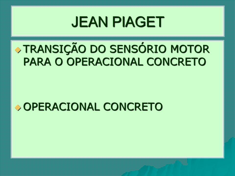 JEAN PIAGET TRANSIÇÃO DO SENSÓRIO MOTOR PARA O OPERACIONAL CONCRETO