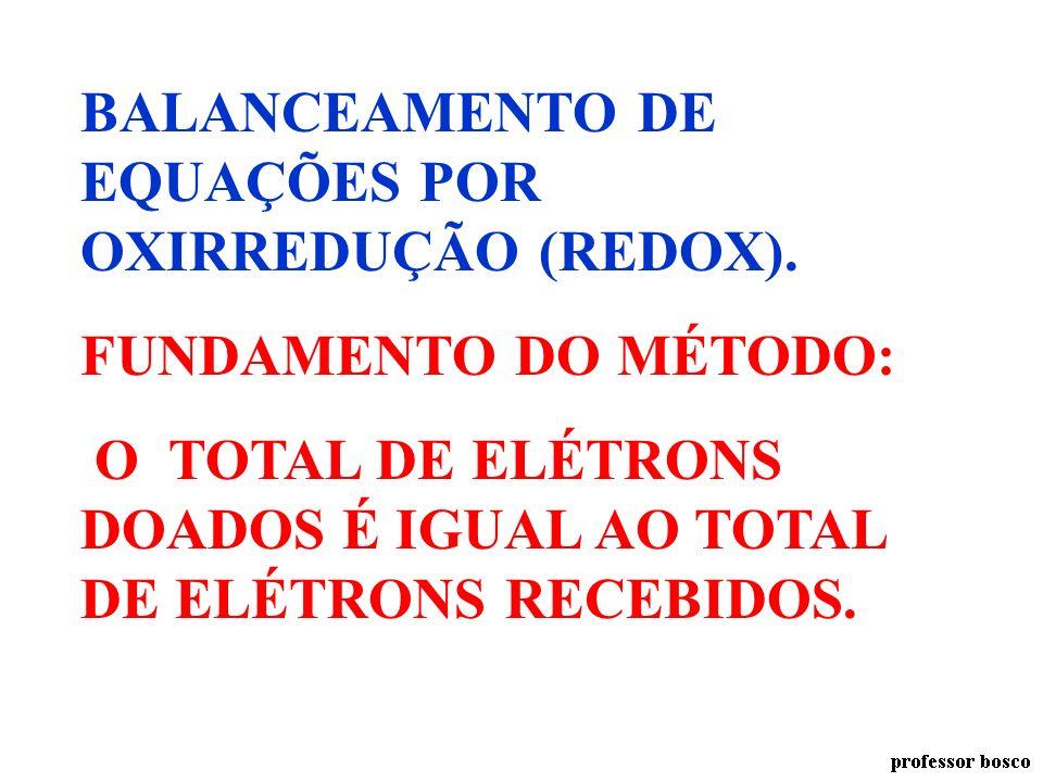 BALANCEAMENTO DE EQUAÇÕES POR OXIRREDUÇÃO (REDOX).
