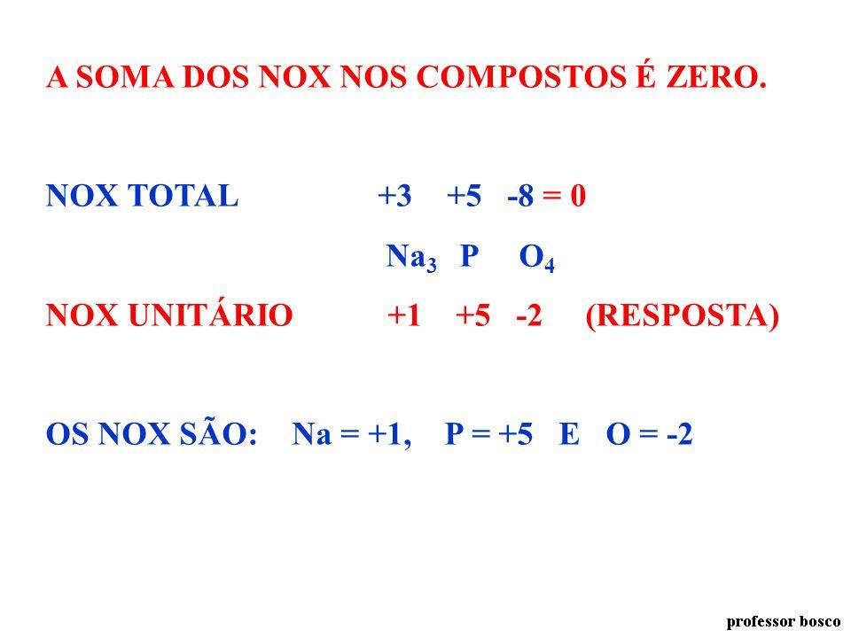 A SOMA DOS NOX NOS COMPOSTOS É ZERO.