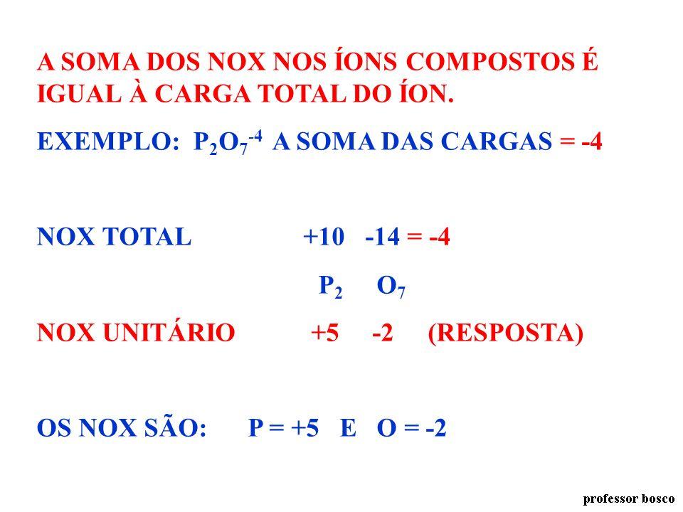 A SOMA DOS NOX NOS ÍONS COMPOSTOS É IGUAL À CARGA TOTAL DO ÍON.