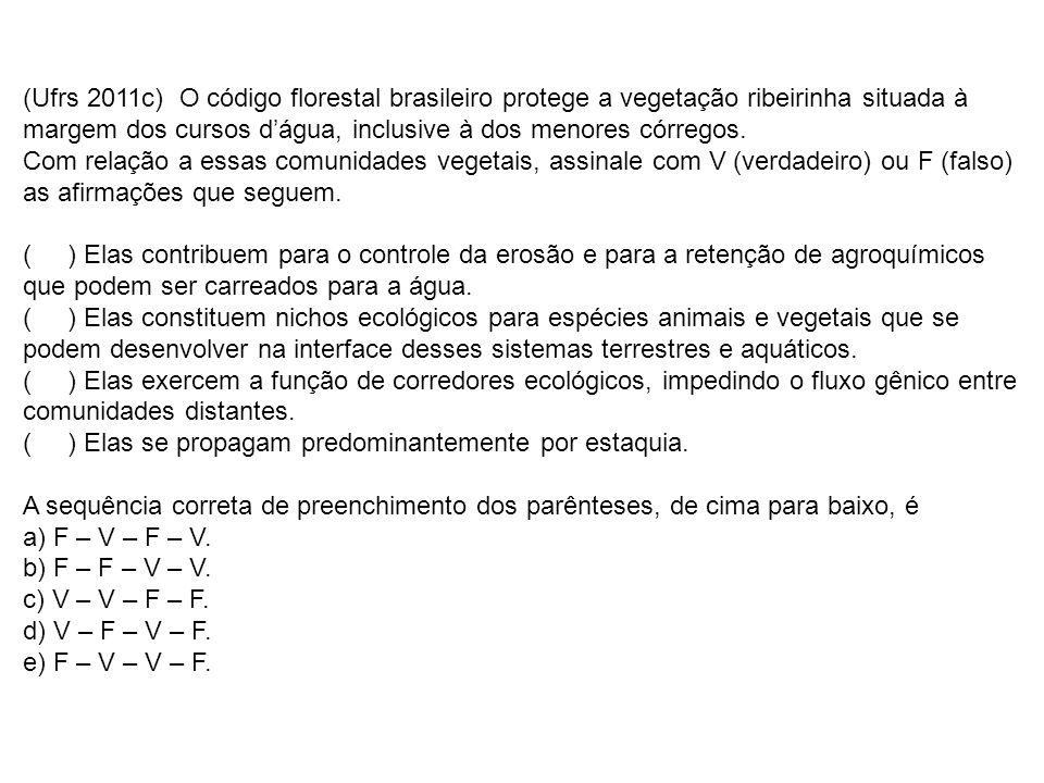 (Ufrs 2011c) O código florestal brasileiro protege a vegetação ribeirinha situada à margem dos cursos d'água, inclusive à dos menores córregos.