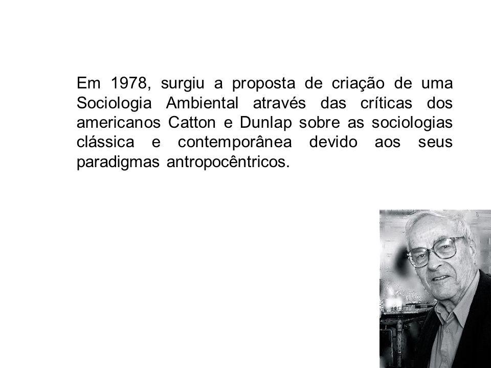 Em 1978, surgiu a proposta de criação de uma Sociologia Ambiental através das críticas dos americanos Catton e Dunlap sobre as sociologias clássica e contemporânea devido aos seus paradigmas antropocêntricos.