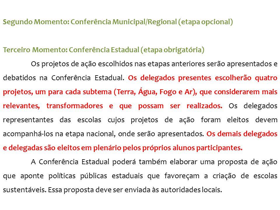 Segundo Momento: Conferência Municipal/Regional (etapa opcional)