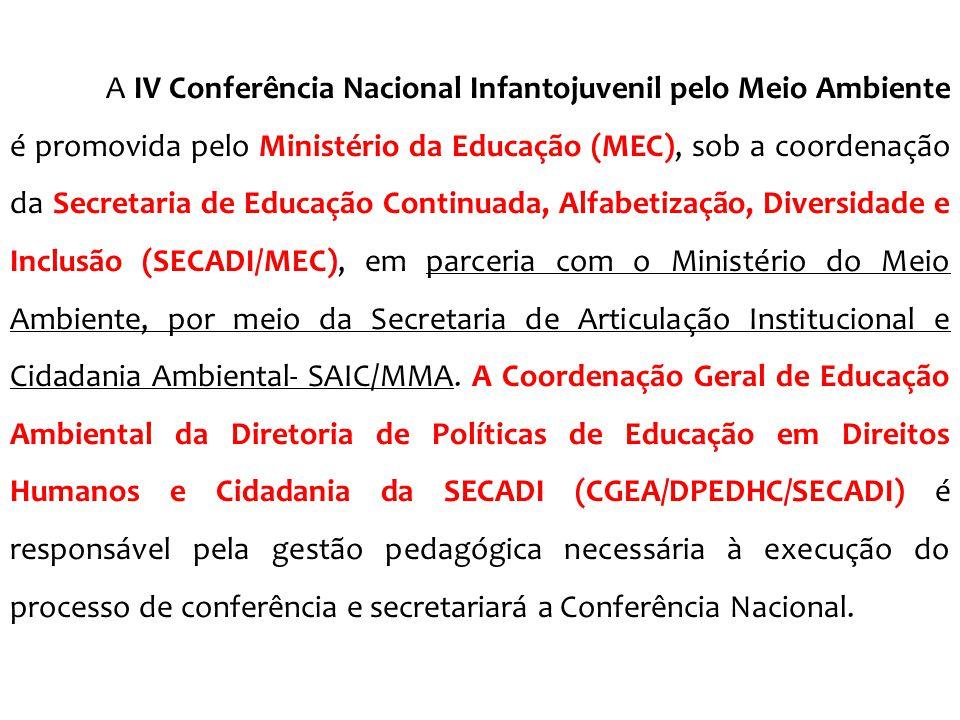 A IV Conferência Nacional Infantojuvenil pelo Meio Ambiente é promovida pelo Ministério da Educação (MEC), sob a coordenação da Secretaria de Educação Continuada, Alfabetização, Diversidade e Inclusão (SECADI/MEC), em parceria com o Ministério do Meio Ambiente, por meio da Secretaria de Articulação Institucional e Cidadania Ambiental- SAIC/MMA.