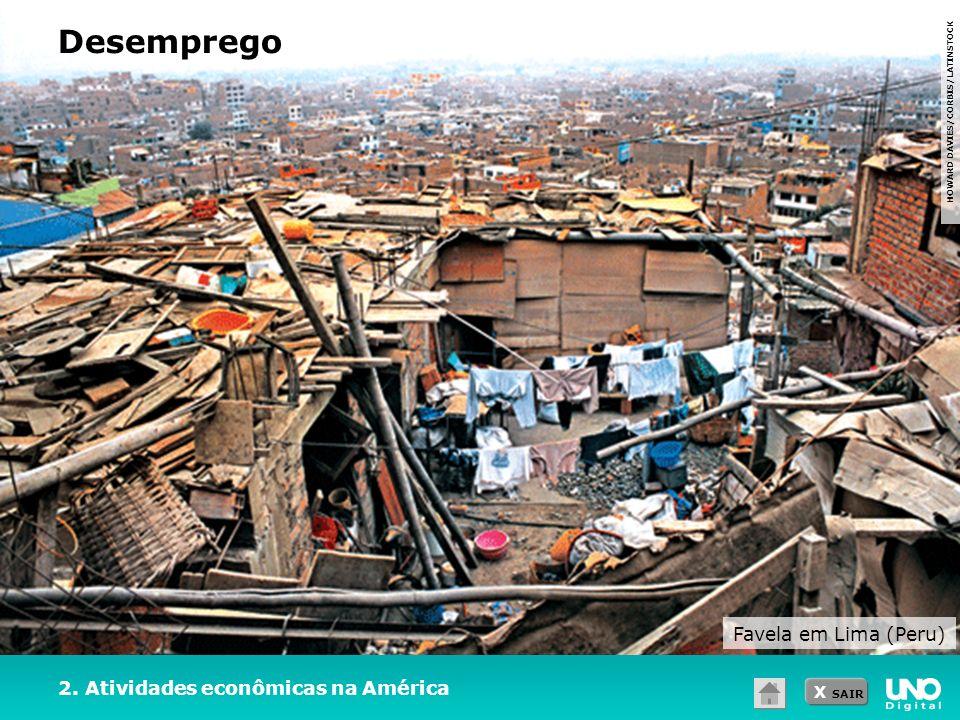 Desemprego Favela em Lima (Peru) 2. Atividades econômicas na América
