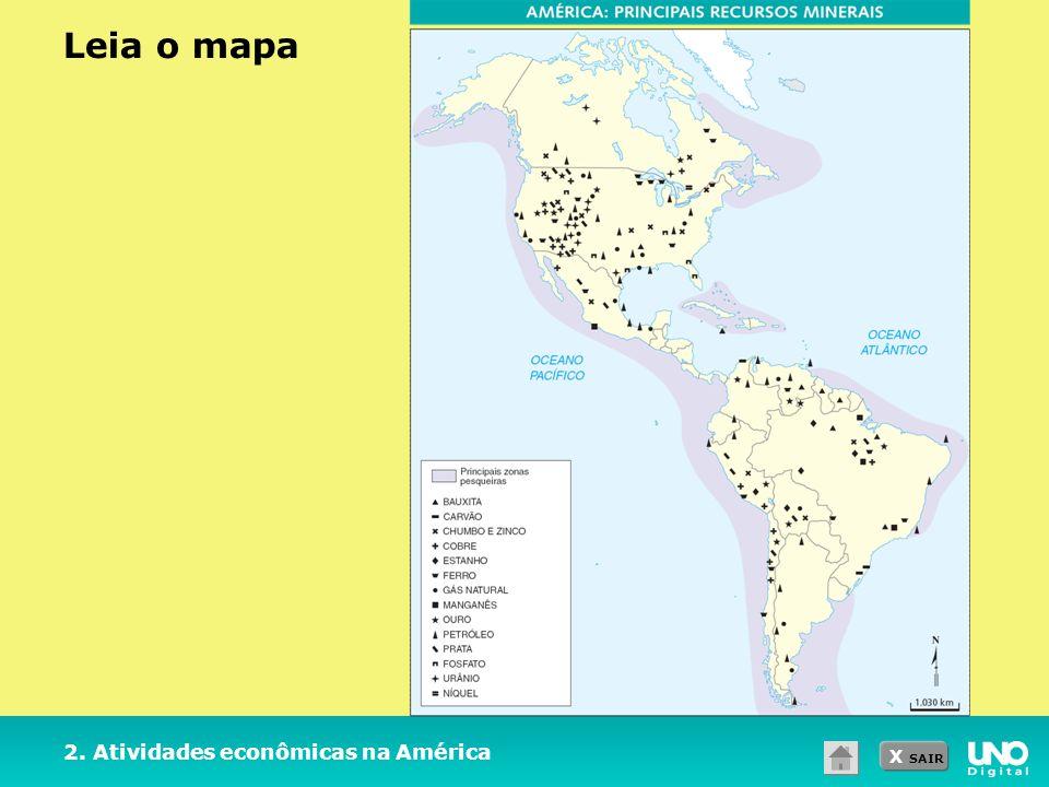 Leia o mapa 2. Atividades econômicas na América