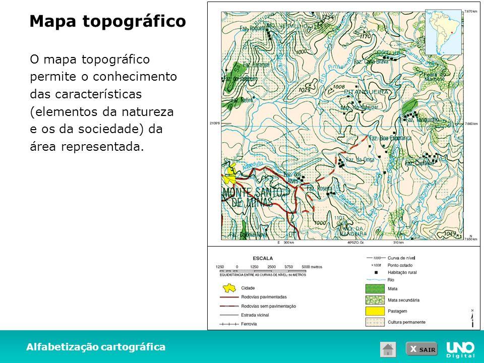 Mapa topográfico O mapa topográfico permite o conhecimento das características (elementos da natureza e os da sociedade) da área representada.