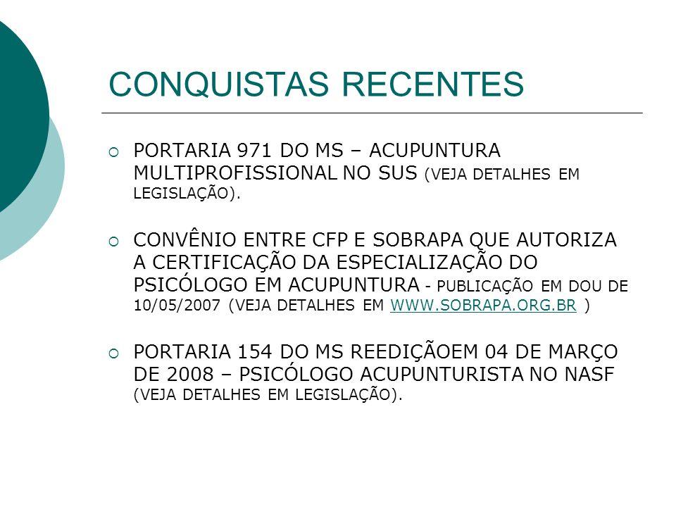 CONQUISTAS RECENTES PORTARIA 971 DO MS – ACUPUNTURA MULTIPROFISSIONAL NO SUS (VEJA DETALHES EM LEGISLAÇÃO).