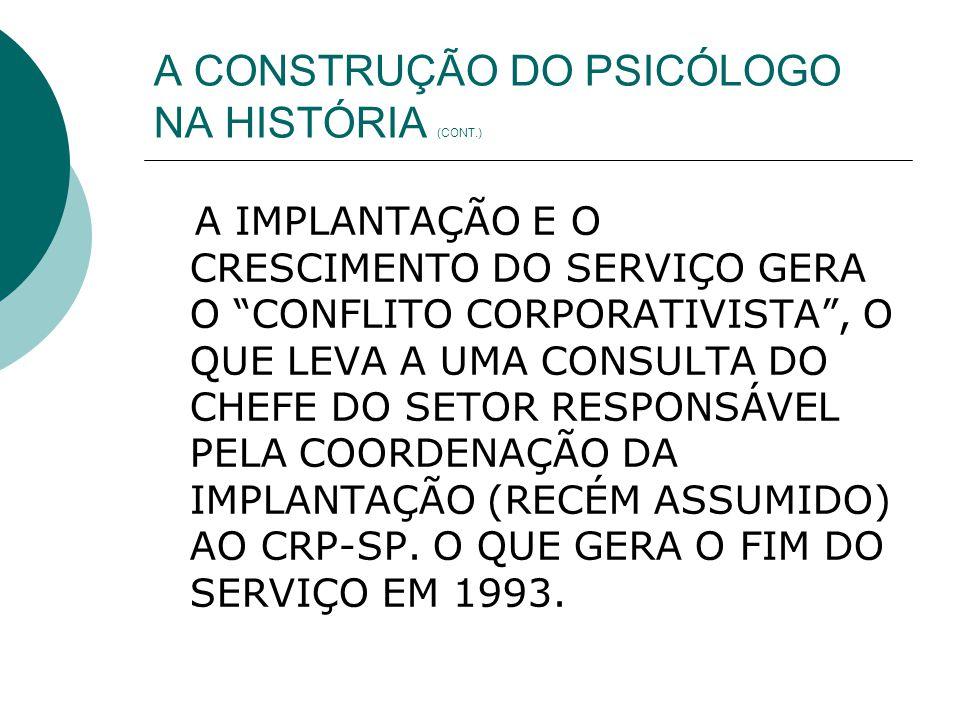 A CONSTRUÇÃO DO PSICÓLOGO NA HISTÓRIA (CONT.)