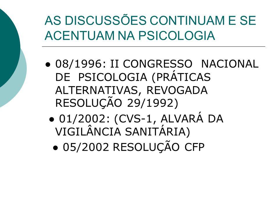AS DISCUSSÕES CONTINUAM E SE ACENTUAM NA PSICOLOGIA