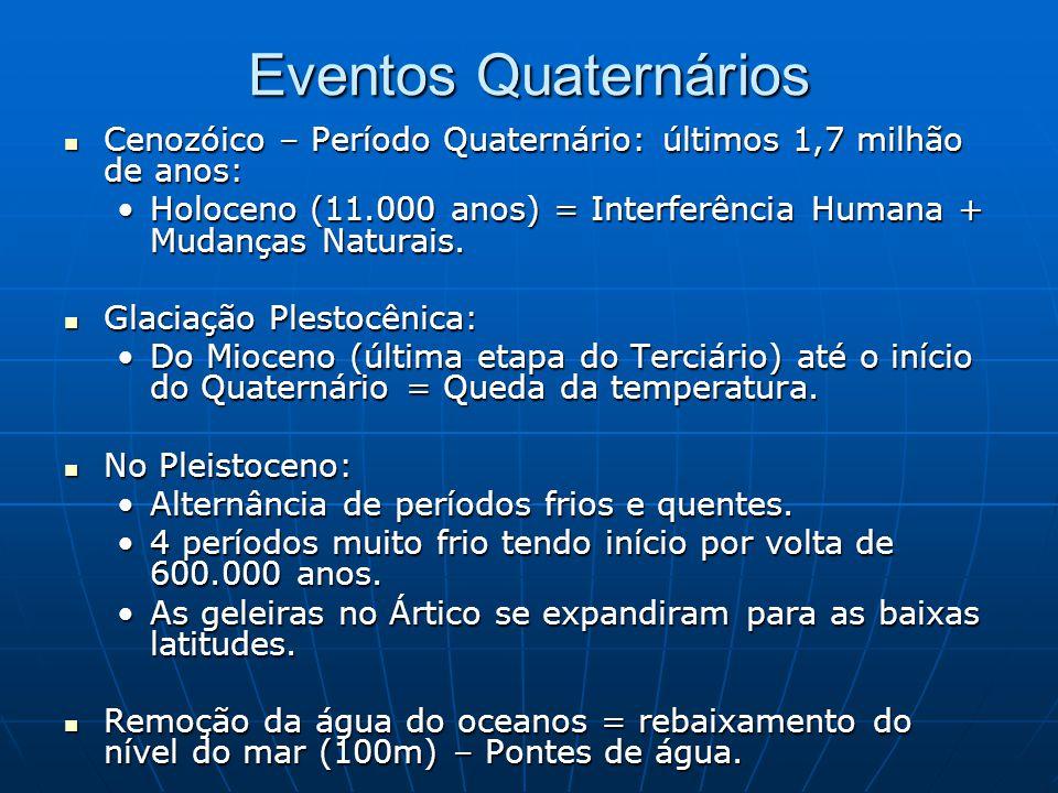 Eventos Quaternários Cenozóico – Período Quaternário: últimos 1,7 milhão de anos: Holoceno (11.000 anos) = Interferência Humana + Mudanças Naturais.