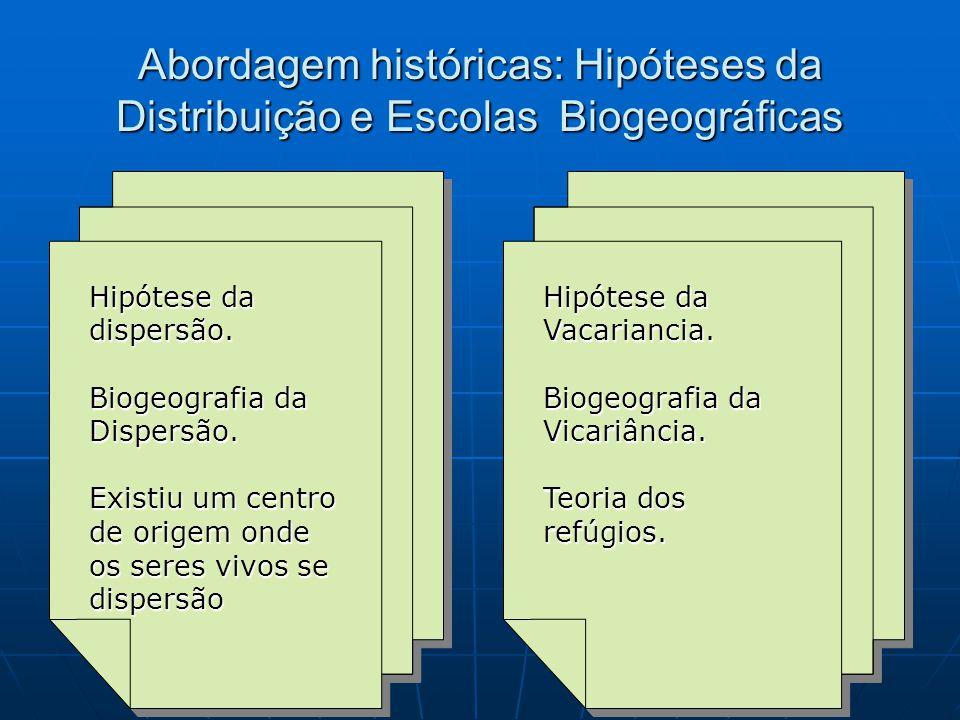 Abordagem históricas: Hipóteses da Distribuição e Escolas Biogeográficas