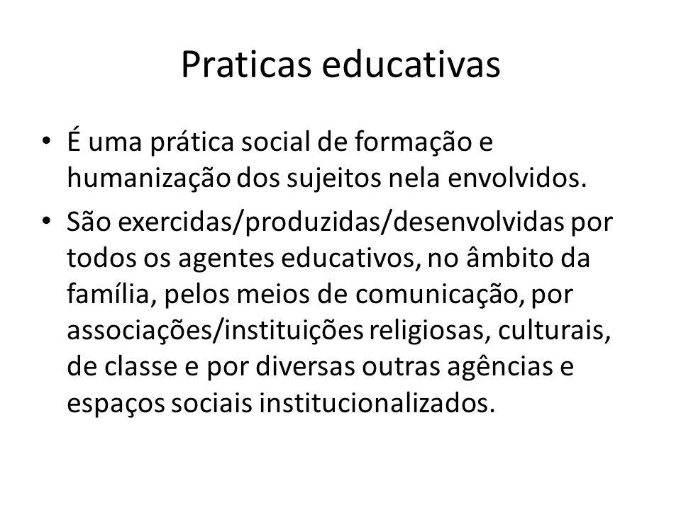 Praticas educativas É uma prática social de formação e humanização dos sujeitos nela envolvidos.