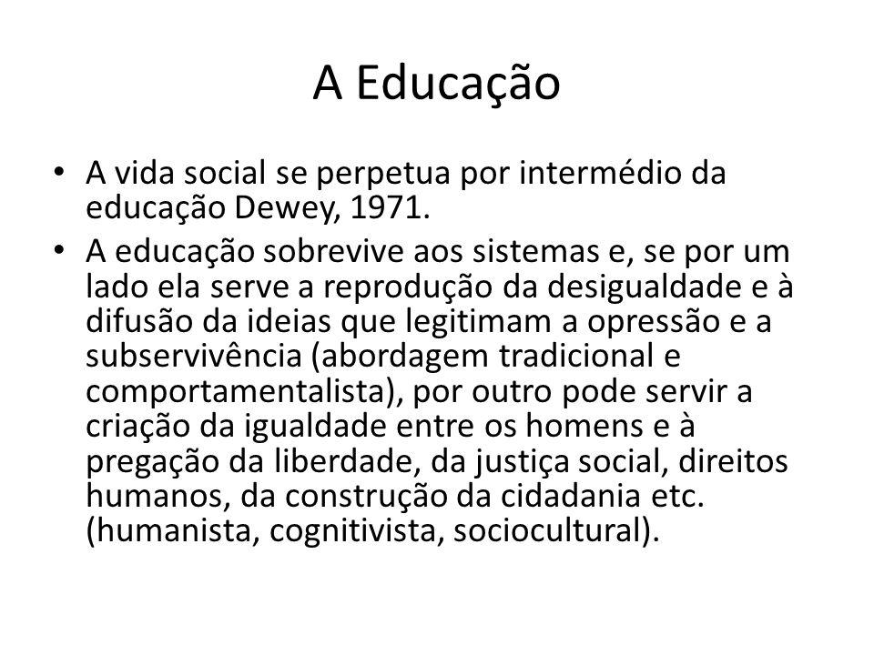 A Educação A vida social se perpetua por intermédio da educação Dewey, 1971.