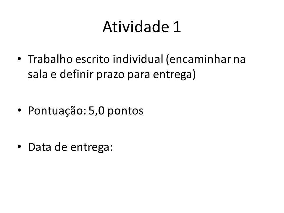 Atividade 1 Trabalho escrito individual (encaminhar na sala e definir prazo para entrega) Pontuação: 5,0 pontos.