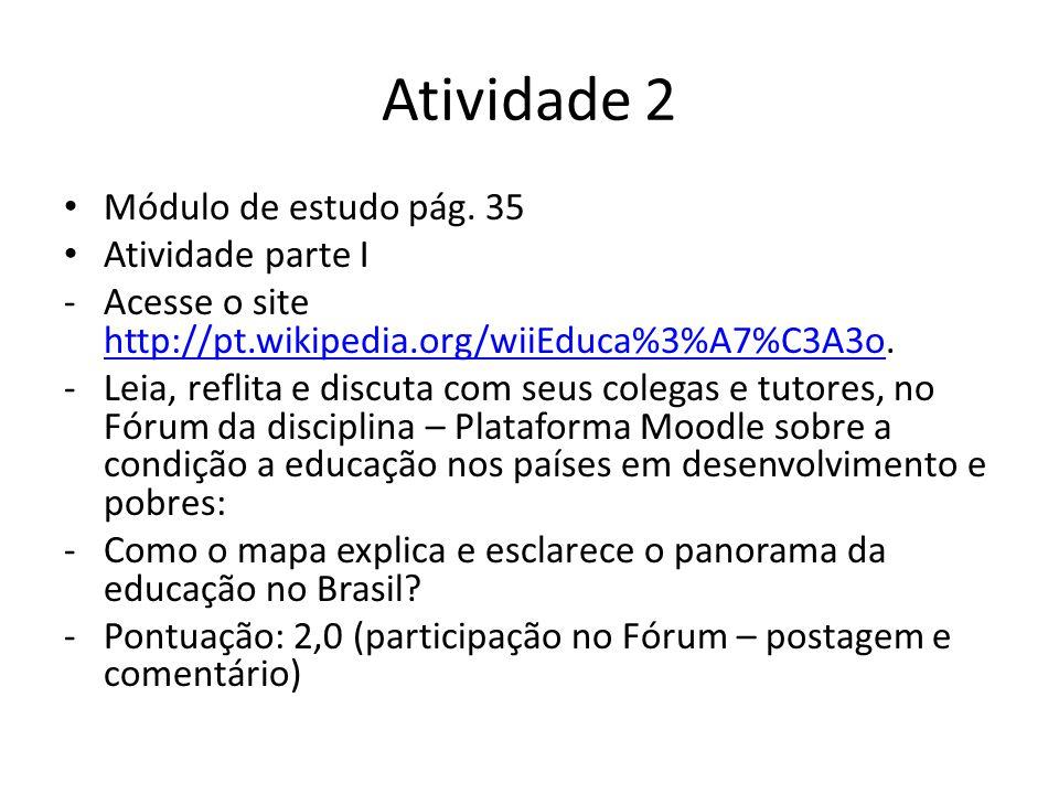 Atividade 2 Módulo de estudo pág. 35 Atividade parte I