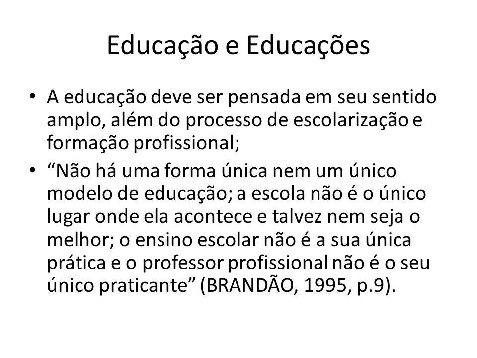 Educação e Educações A educação deve ser pensada em seu sentido amplo, além do processo de escolarização e formação profissional;