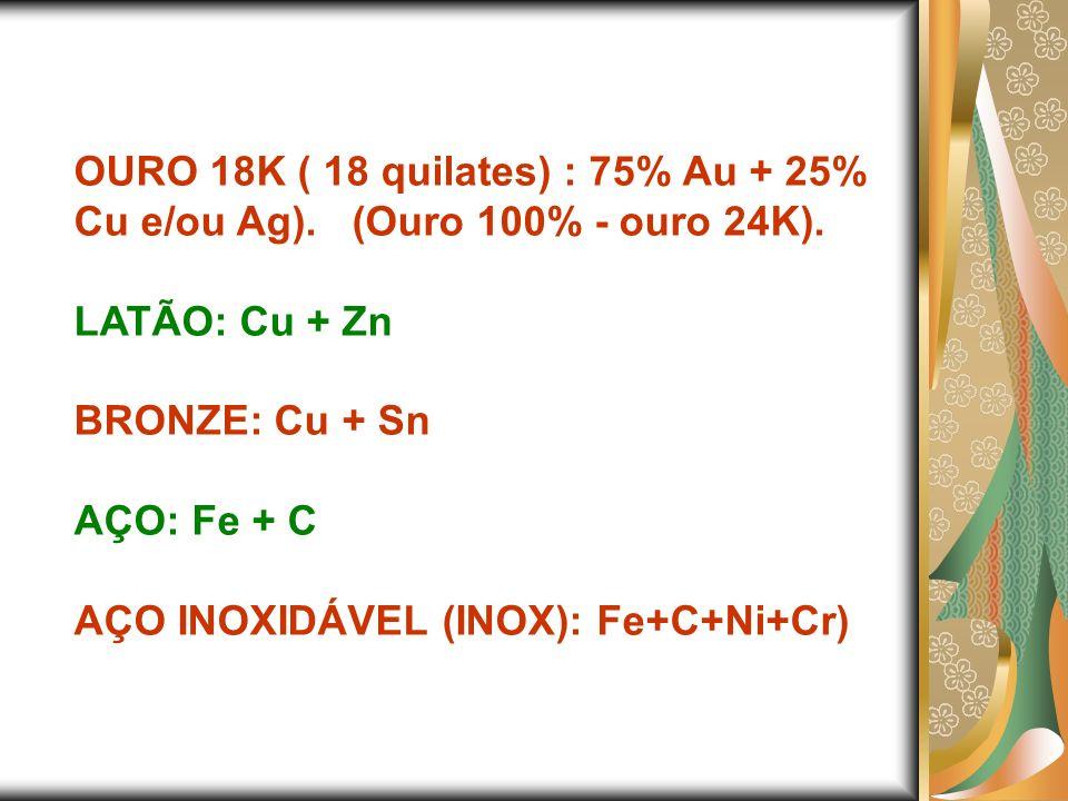 OURO 18K ( 18 quilates) : 75% Au + 25% Cu e/ou Ag)