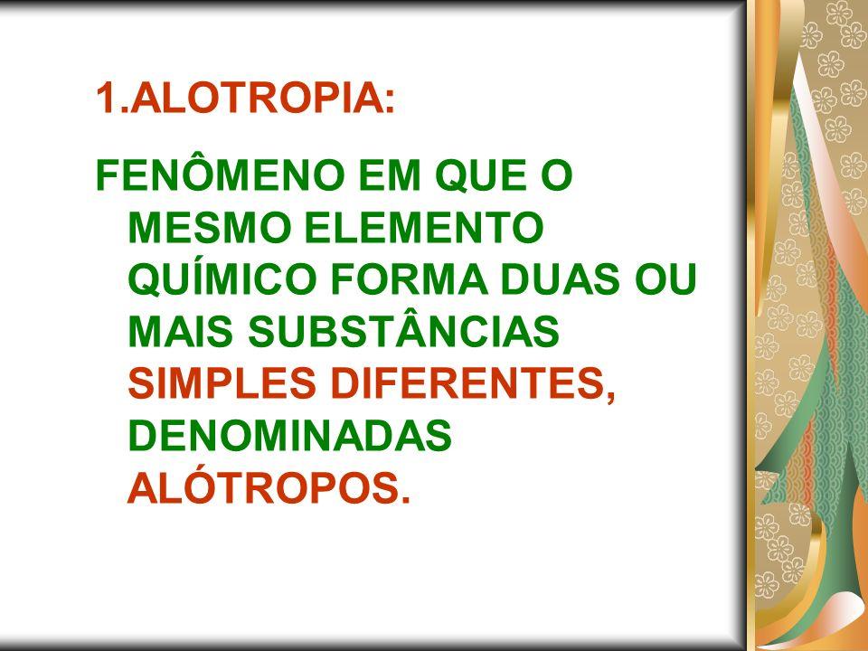 ALOTROPIA:FENÔMENO EM QUE O MESMO ELEMENTO QUÍMICO FORMA DUAS OU MAIS SUBSTÂNCIAS SIMPLES DIFERENTES, DENOMINADAS ALÓTROPOS.