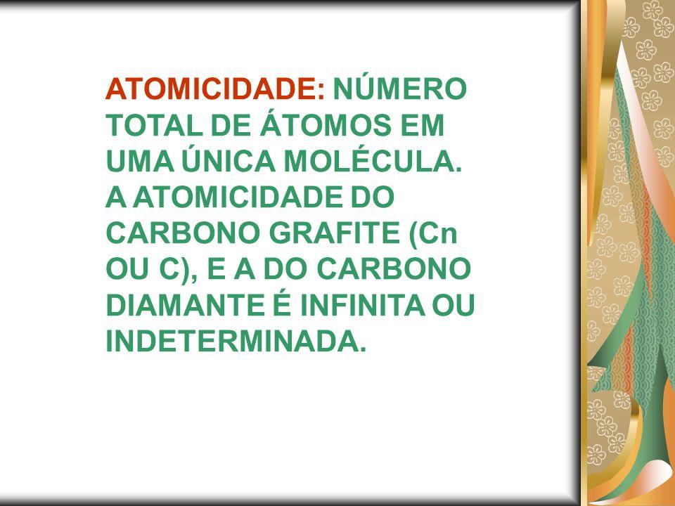 ATOMICIDADE: NÚMERO TOTAL DE ÁTOMOS EM UMA ÚNICA MOLÉCULA.
