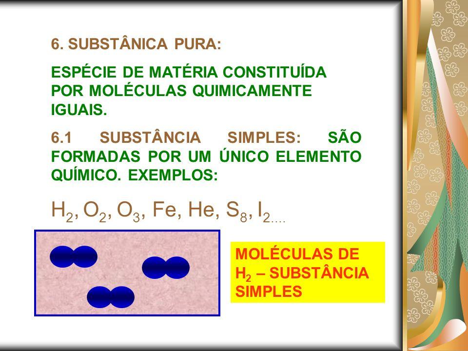 H2, O2, O3, Fe, He, S8, I2.... 6. SUBSTÂNICA PURA:
