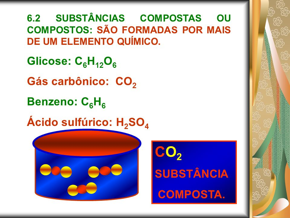 CO2 Glicose: C6H12O6 Gás carbônico: CO2 Benzeno: C6H6