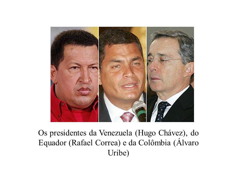 Os presidentes da Venezuela (Hugo Chávez), do Equador (Rafael Correa) e da Colômbia (Álvaro Uribe)