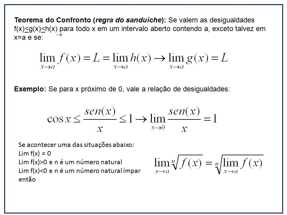 Teorema do Confronto (regra do sanduíche): Se valem as desigualdades f(x)<g(x)<h(x) para todo x em um intervalo aberto contendo a, exceto talvez em x=a e se: