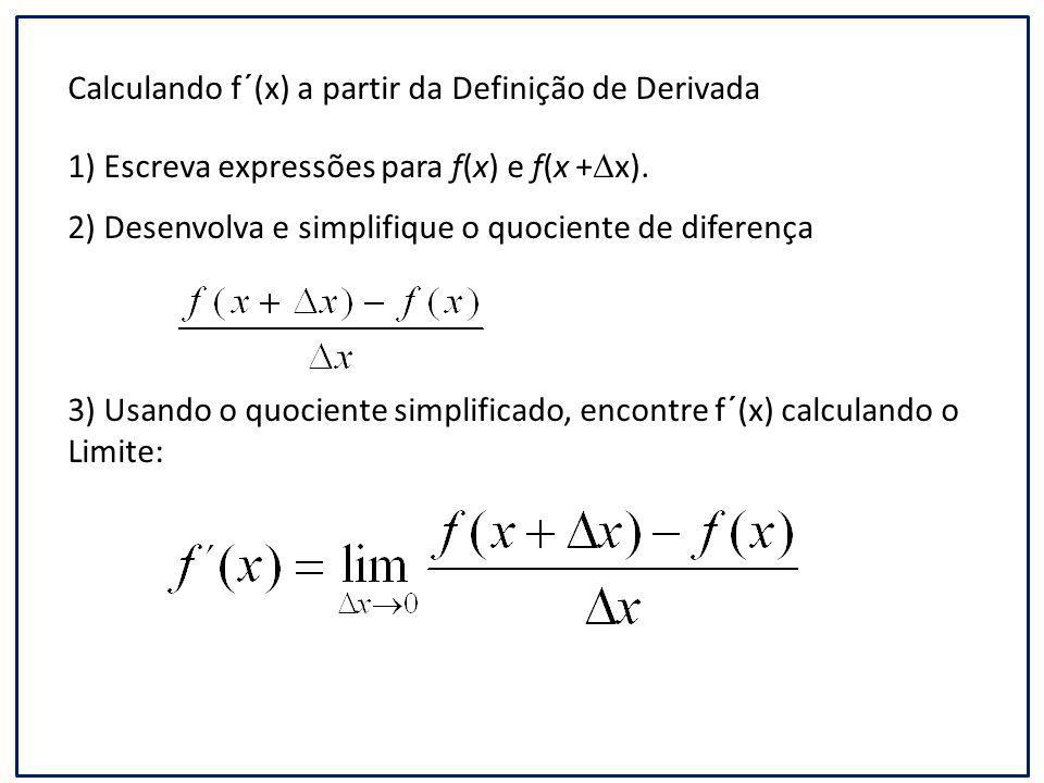 Calculando f´(x) a partir da Definição de Derivada