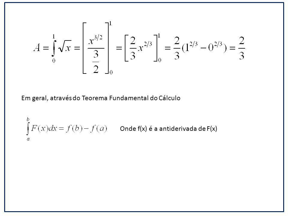 Em geral, através do Teorema Fundamental do Cálculo