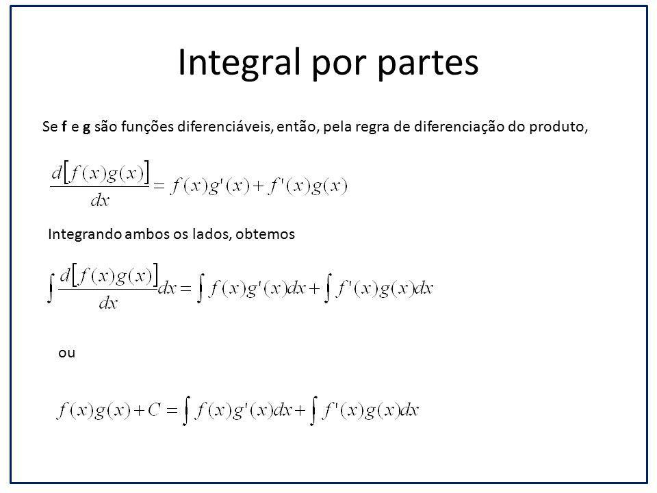 Integral por partes Se f e g são funções diferenciáveis, então, pela regra de diferenciação do produto,