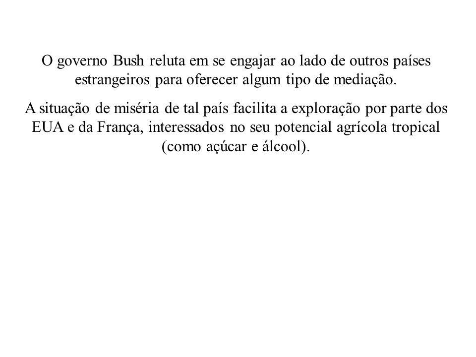 O governo Bush reluta em se engajar ao lado de outros países estrangeiros para oferecer algum tipo de mediação.