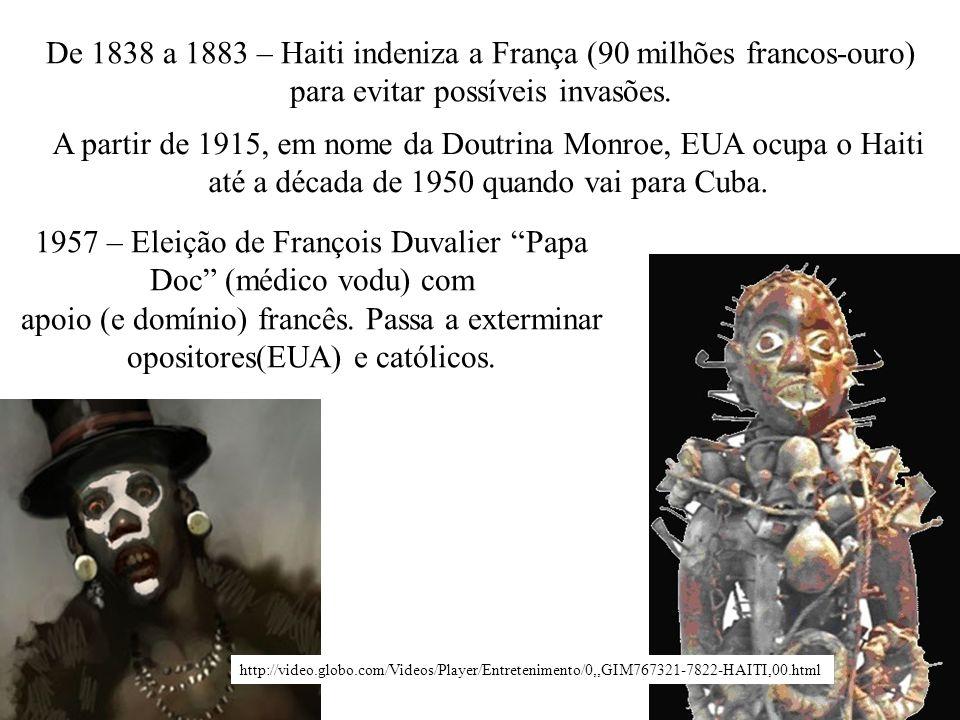 De 1838 a 1883 – Haiti indeniza a França (90 milhões francos-ouro)