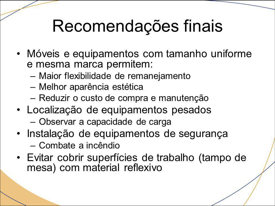 Recomendações finais Móveis e equipamentos com tamanho uniforme e mesma marca permitem: Maior flexibilidade de remanejamento.