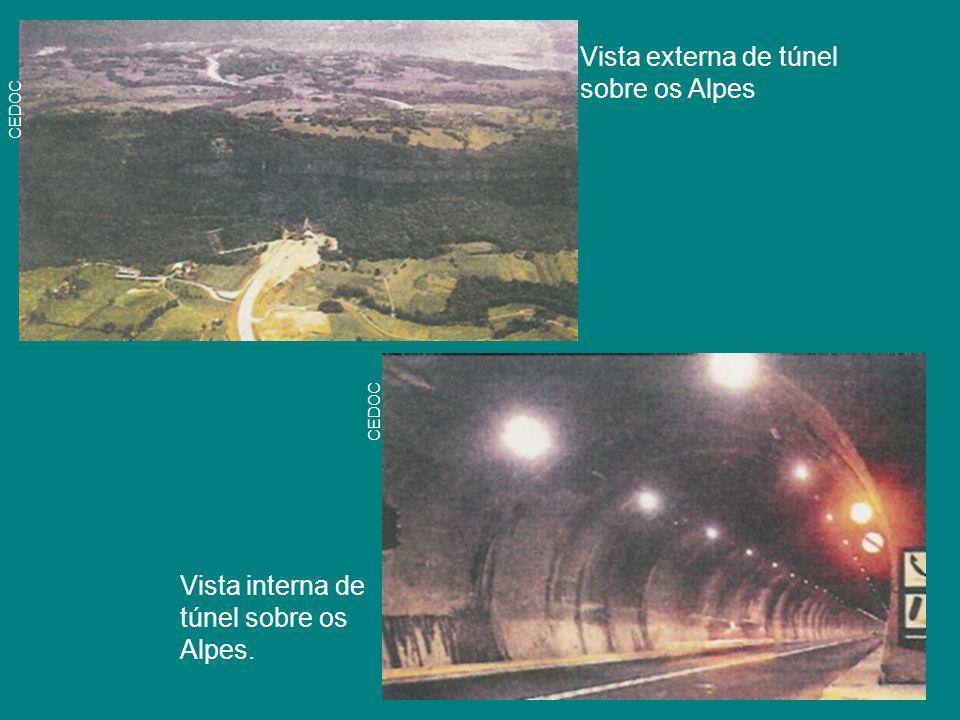 Vista externa de túnel sobre os Alpes