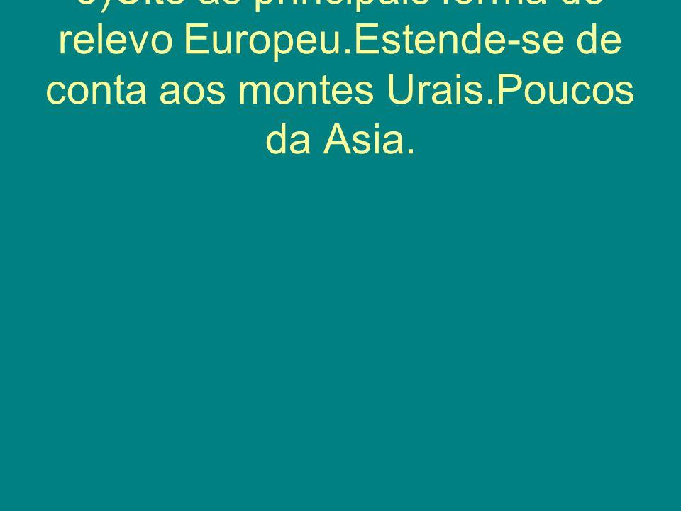 3)Cite as principais forma de relevo Europeu