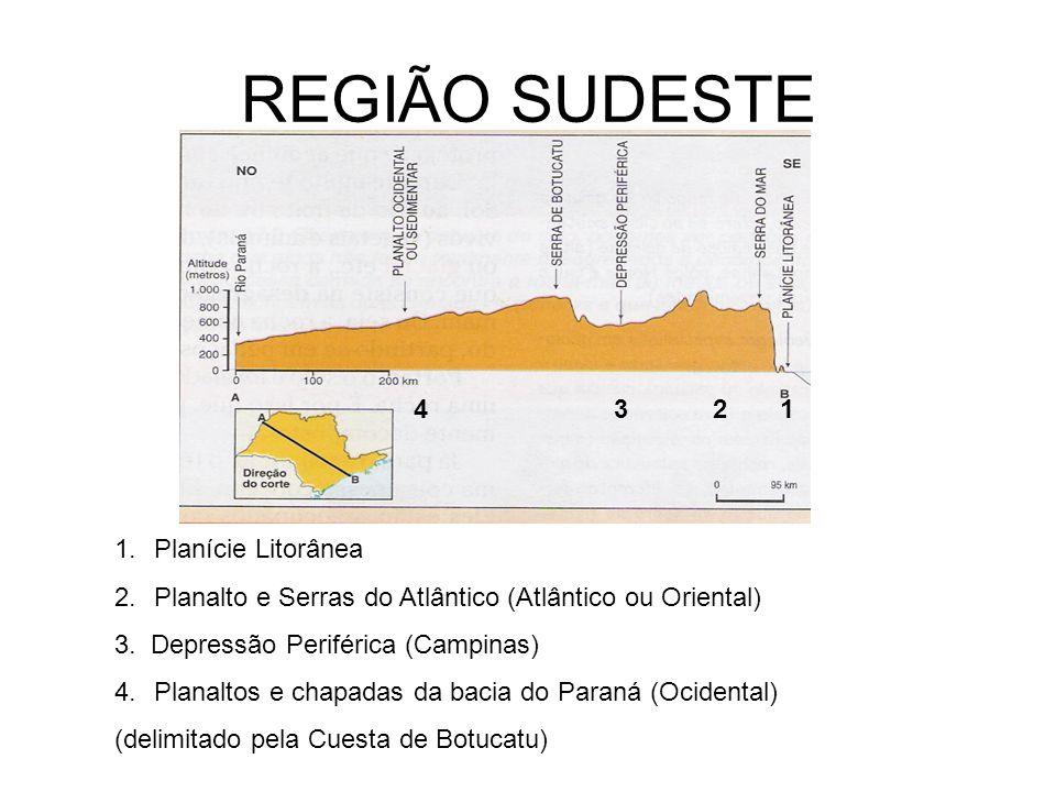REGIÃO SUDESTE 4 3 2 1 Planície Litorânea