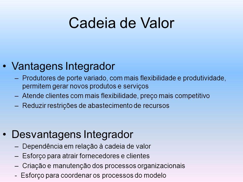 Cadeia de Valor Vantagens Integrador Desvantagens Integrador
