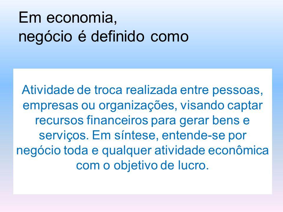 Em economia, negócio é definido como