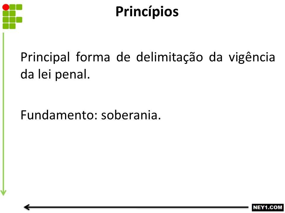 Princípios Principal forma de delimitação da vigência da lei penal. Fundamento: soberania.