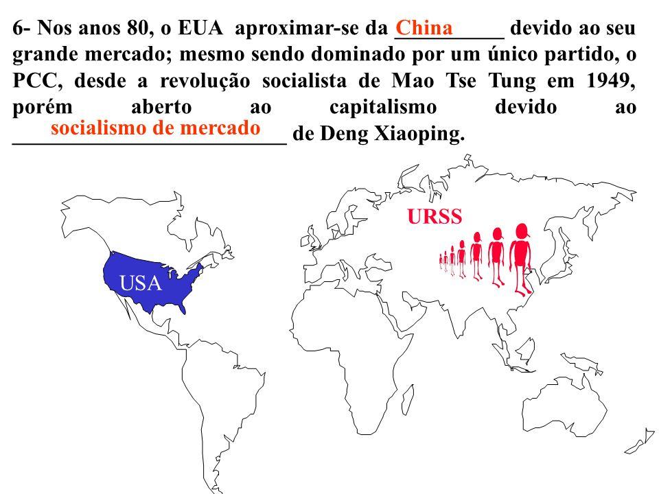 6- Nos anos 80, o EUA aproximar-se da __________ devido ao seu grande mercado; mesmo sendo dominado por um único partido, o PCC, desde a revolução socialista de Mao Tse Tung em 1949, porém aberto ao capitalismo devido ao _________________________ de Deng Xiaoping.