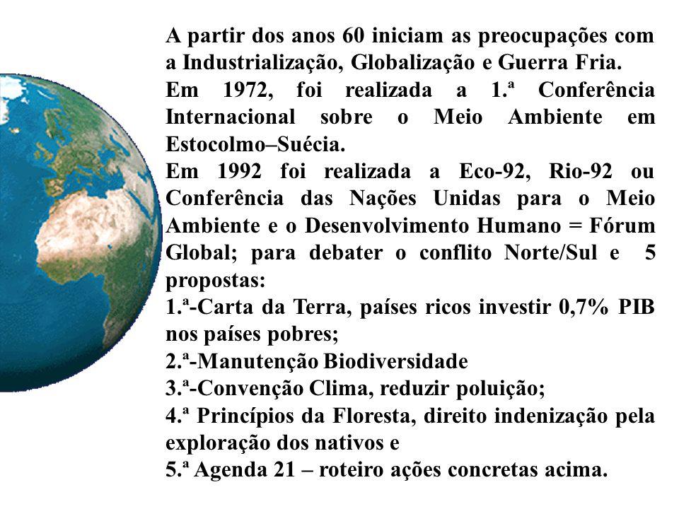 A partir dos anos 60 iniciam as preocupações com a Industrialização, Globalização e Guerra Fria.