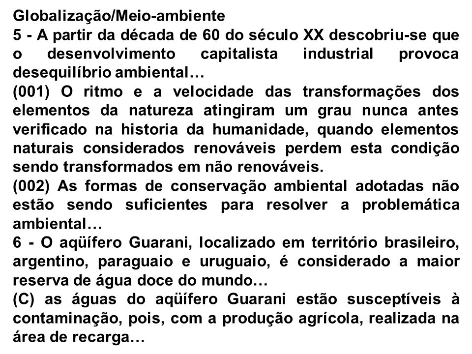 Globalização/Meio-ambiente