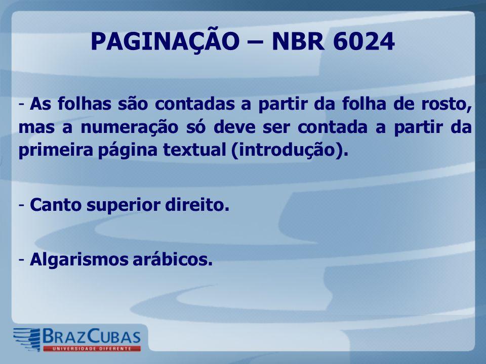 PAGINAÇÃO – NBR 6024