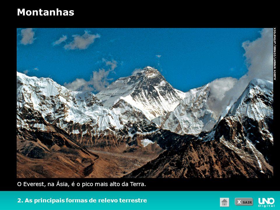Montanhas O Everest, na Ásia, é o pico mais alto da Terra.