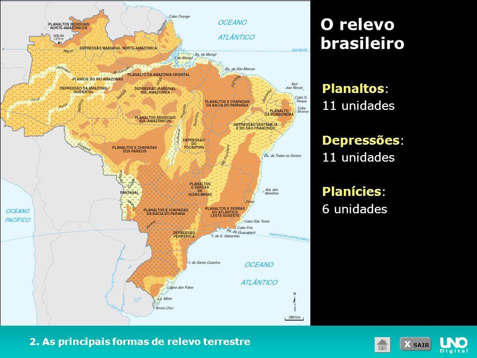 O relevo brasileiro Planaltos: 11 unidades Depressões: Planícies: