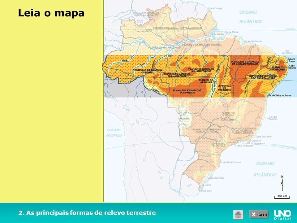 Leia o mapa 2. As principais formas de relevo terrestre